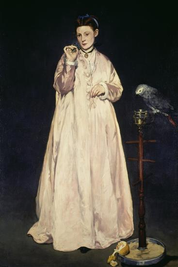 Woman with Parrot 1866-Edouard Manet-Giclee Print