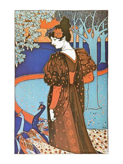 Woman with Peacocks-Alphonse Mucha-Art Print