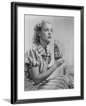 Woman with Perfume Atomizer--Framed Photo