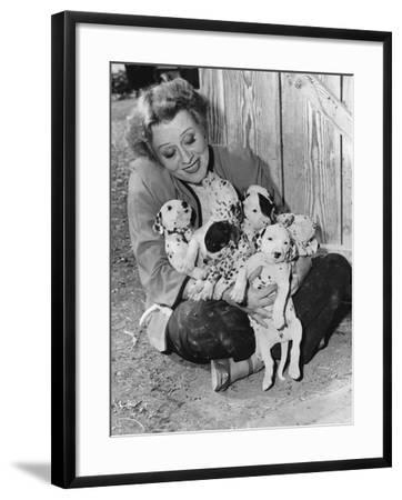 Woman with Puppies--Framed Photo