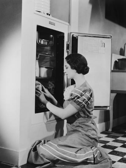 Woman with Refrigerator--Photo