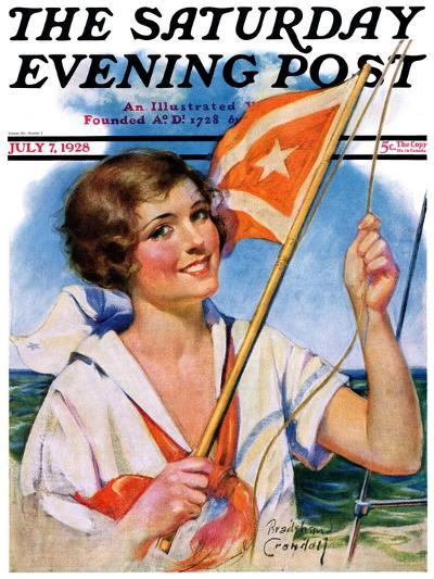 """""""Woman with Signal Flag,"""" Saturday Evening Post Cover, July 7, 1928-Bradshaw Crandall-Giclee Print"""