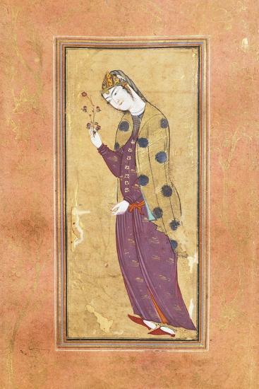 Woman with Sprig of Flowers, Arabic Miniature, Safavid Art, 16th Century--Giclee Print