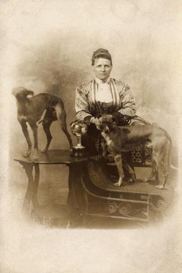 Woman with Two Greyhounds--Photographic Print