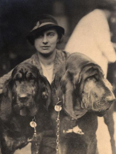 Woman with Two Pedigree Bloodhounds--Photographic Print