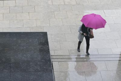 Woman with Umbrella and Mobile Phone Walking Up Steps to Auckland Art Gallery-Nick Servian-Photographic Print