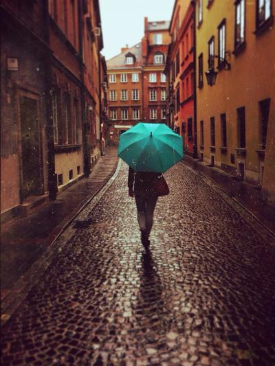 Woman with Umbrella Walking on the Rain in Old Town of Warsaw, Poland. Vintage Edited Picture-Happy Moments-Photographic Print