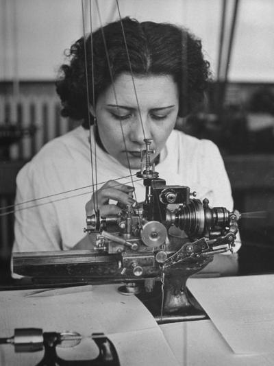 Woman Working in Watch Factory--Photographic Print