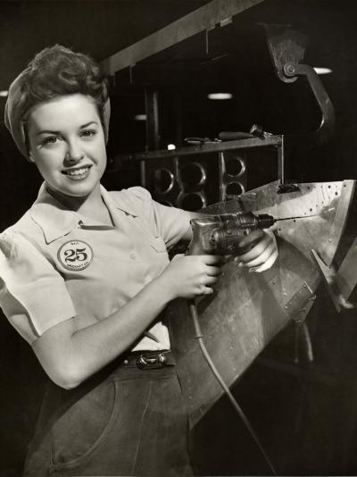 Woman Working on Aircraft Assembly Line-George Marks-Photographic Print