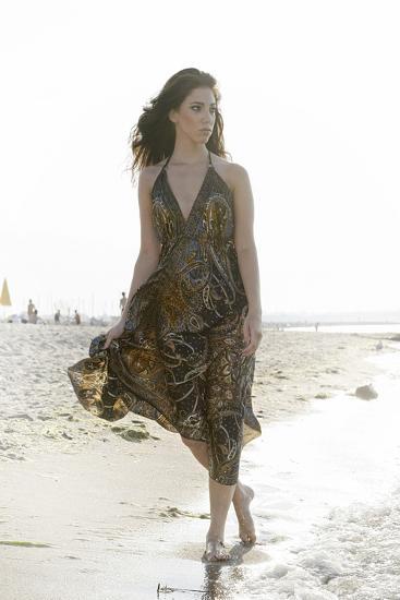 Woman, Young, Summer Dress, Sandy Beach, Niendorf on the Baltic Sea-Axel Schmies-Photographic Print