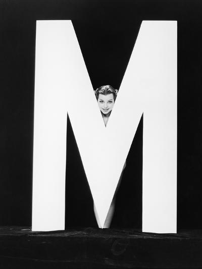 Womans Face with Huge Letter M-Everett Collection-Photographic Print