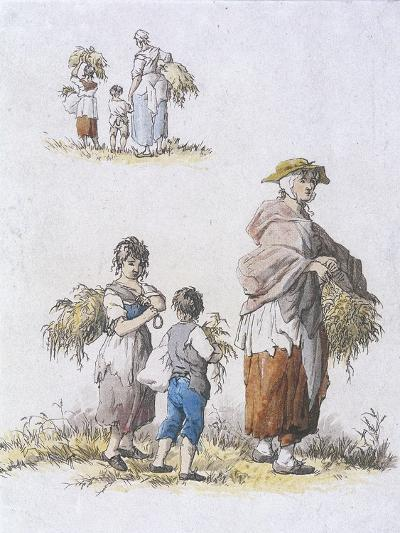 Women and Children Gleaning, Provincial Characters, 1802-William Henry Pyne-Giclee Print