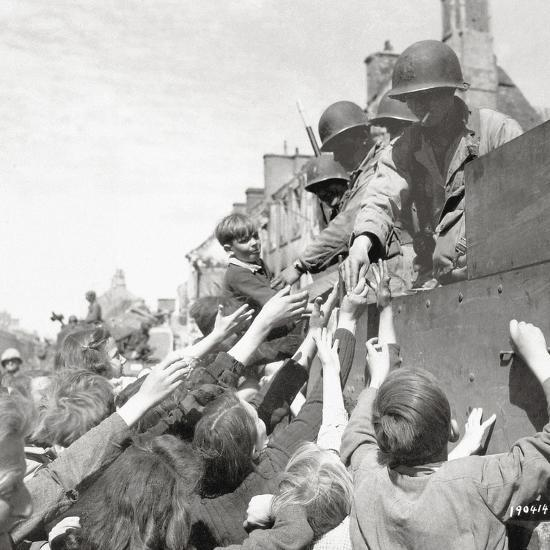 Women and Children Greeting Gis on a Half Track M3A1 Which Is Behind a M4 Sherman Tank--Photographic Print
