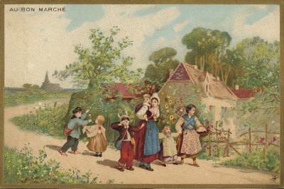 Women and Children Walking--Giclee Print