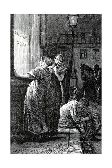 Women and Gin Drinking, 19th Century--Giclee Print