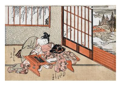 Women at a Table with a View of the Landscape, Japanese Wood-Cut Print-Lantern Press-Art Print