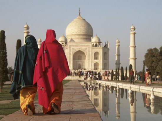 Women at Taj Mahal on River Yamuna, India-Claudia Adams-Photographic Print