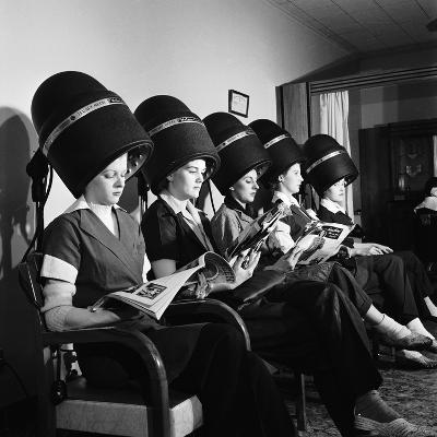 Women Aviation Workers under Hair Dryers in Beauty Salon, North American Aviation's Woodworth Plant-Charles E^ Steinheimer-Photographic Print