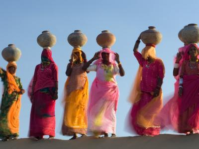 Women Carrying Pottery Jugs of Water, Thar Desert, Jaisalmer, Rajasthan, India-Philip Kramer-Photographic Print