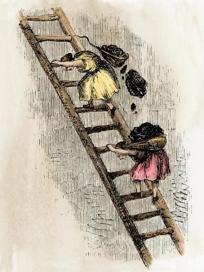 Women Coal-Bearers in the East Scotland Mines, 1850s--Giclee Print