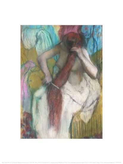 Women Combing Her Hair-Edgar Degas-Art Print