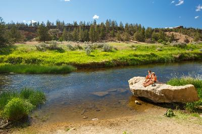 Women Cool Off At Crooked River After Hiking Misery Ridge Loop At Smith Rock State Park, Oregon-Ben Herndon-Photographic Print