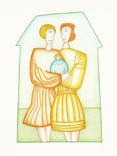 Women Couple with Baby-Marie Bertrand-Photographic Print