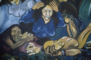 Women Crying in Front of Men in Chains, Mural in Orgosolo, Sardinia, Italy