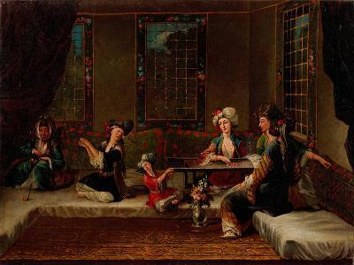 Women Embroidering-Jean-Baptiste Vanmour-Giclee Print