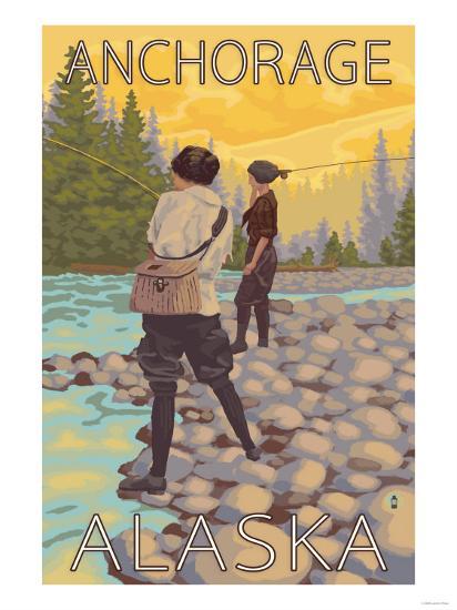 Women Fly Fishing, Anchorage, Alaska-Lantern Press-Art Print