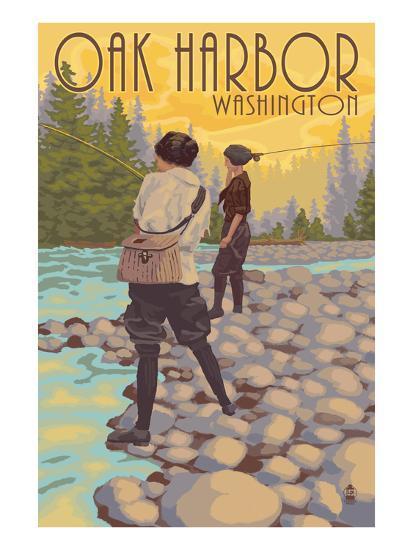 Women Fly Fishing - Oak Harbor, Washington-Lantern Press-Art Print