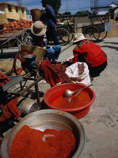 Women from Small Patou Island Grind Chilies to Powder, Dali, Yunnan, China-Diana Mayfield-Photographic Print