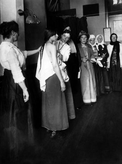 Women Immigrants Undegoing a Physical Examination, Ellis Island, New York, 1910--Photo