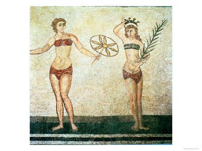 Women in Bikinis, from the Room of the Ten Dancing Girls-Roman-Giclee Print