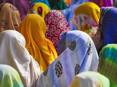 Women in Colorful Saris Gather Together, Jhalawar, Rajasthan, India-Keren Su-Photographic Print