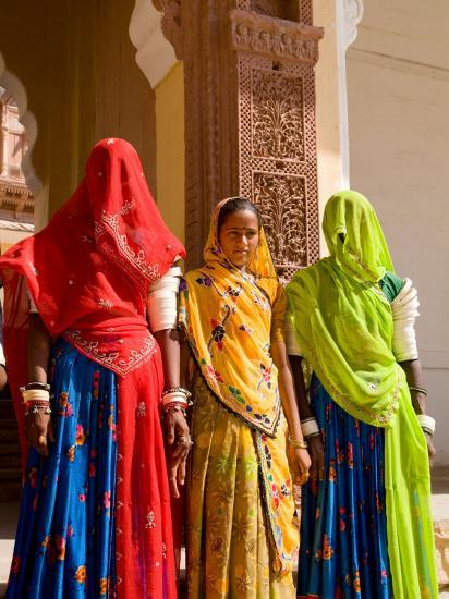 Women in Doorway of Fort Palace, Jodhpur, Fort Mehrangarh, Rajasthan, India-Bill Bachmann-Photographic Print