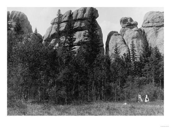 Women in front of Lake Harney Peaks Photograph - Custer City, SD-Lantern Press-Art Print