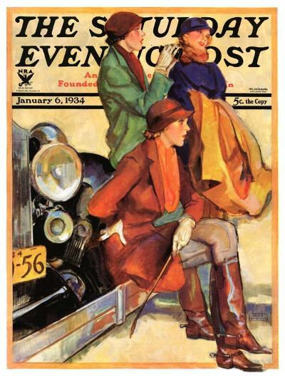 """Women in Riding Habits,"" Saturday Evening Post Cover, January 6, 1934-John LaGatta-Giclee Print"