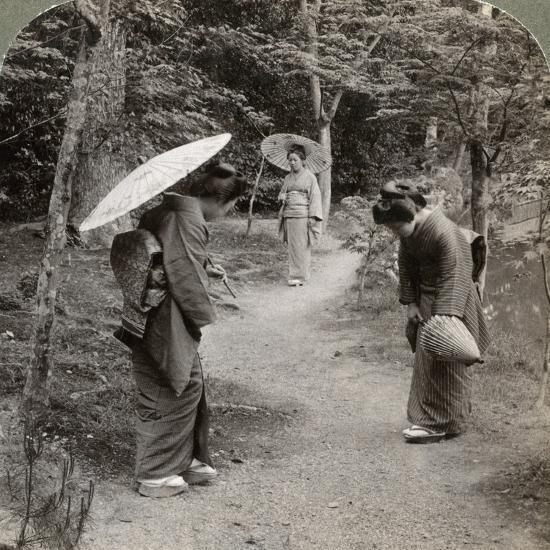 Women in the Kinkaku-Ji Temple Garden, Kyoto, Japan, 1904-Underwood & Underwood-Photographic Print