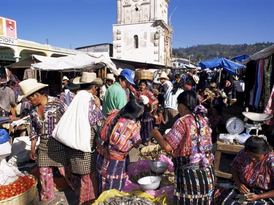 Women in Traditional Dress in Busy Tuesday Market, Solola, Guatemala, Central America-Upperhall-Photographic Print