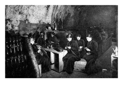 Women Knitting in a Wine-Cellar in a 'Much Bombarded' Rheims--Giclee Print