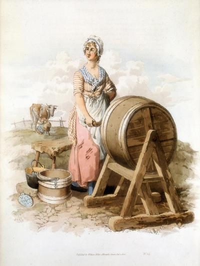 Women Making Butter, 1808-William Henry Pyne-Giclee Print