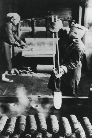 Women Manufacturing Shell Casings in a Russian Factory, World War II, 1943--Giclee Print