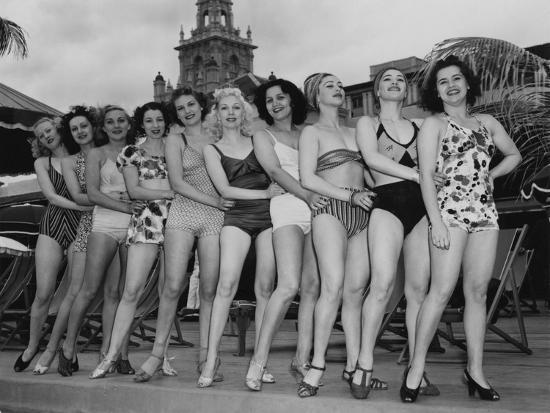 Women Model their Swimsuits at the Roney Plaza, Miami Beach, Florida, C.1940--Photographic Print