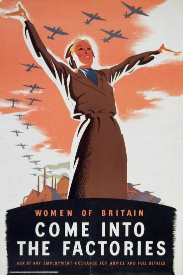 'Women of Britain Come into the Factories', c1940-Unknown-Giclee Print