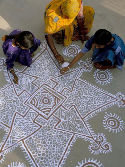 Women Painting a Mandana on the Ground, Village Near Jodhpur, Rajasthan State, India-Bruno Morandi-Photographic Print