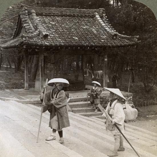 Women Pilgrims on the Steps of Omuro Gosho, Kyoto, Japan, 1904-Underwood & Underwood-Photographic Print