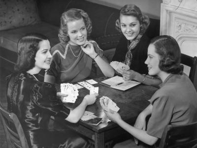 Women Playing Cards-George Marks-Photographic Print