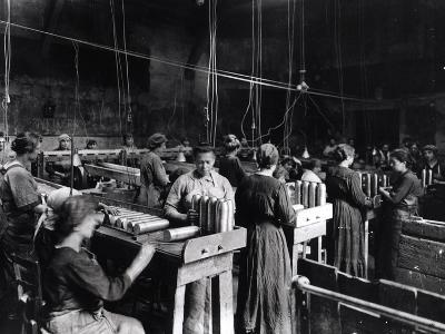 Women Polishing Shells in the Gillet Arms Factory in Lyon, 2nd July 1917--Photographic Print