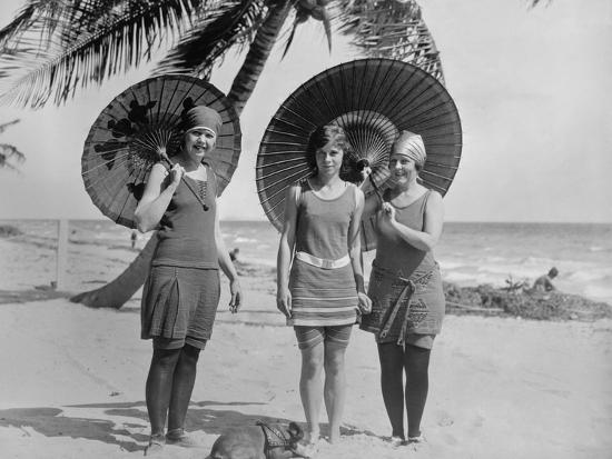 Women Pose in Bathing Suits at an American East Coast Beach Between 1910-1920--Photo